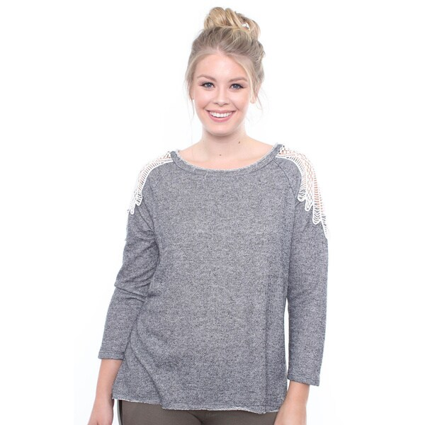 Plus Size Grey Crochet Shoulder Detail Sweater