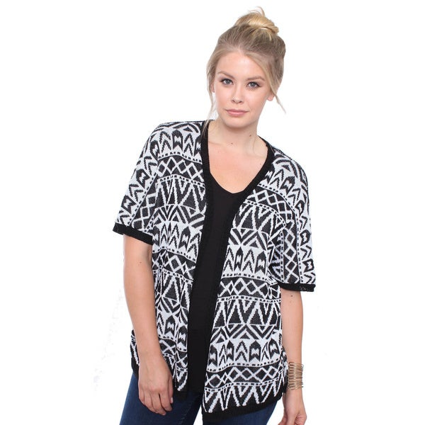 Plus Size Boho Black/ White Aztec Print Knit Cardigan