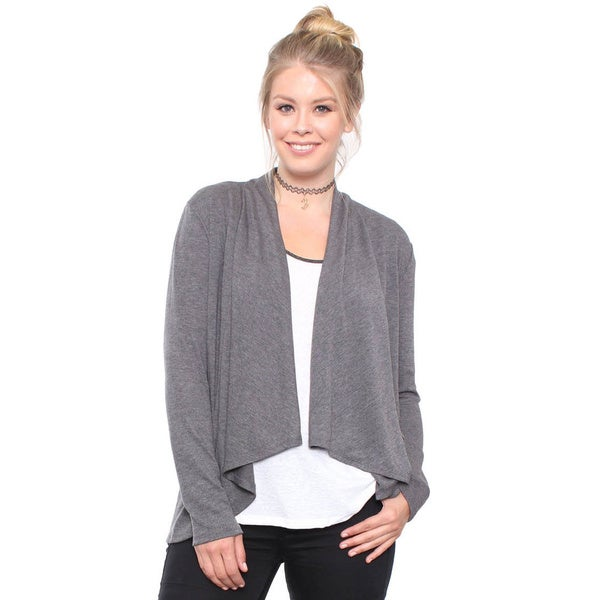 Plus Size Waterfall Grey Open Cardigan