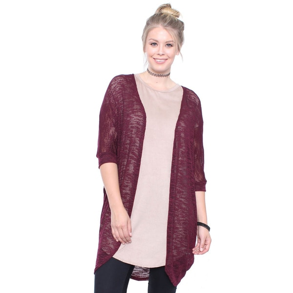 Plus Size Burgundy Long Open Cardigan