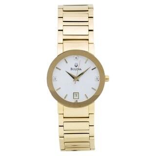Bulova Men's 97D104 Stainless Steel Classic Gold Tone Diamond Watch