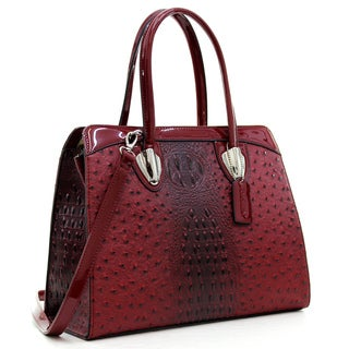 Dasein Ostrich Faux Leather Satchel with Patent Leather Trim
