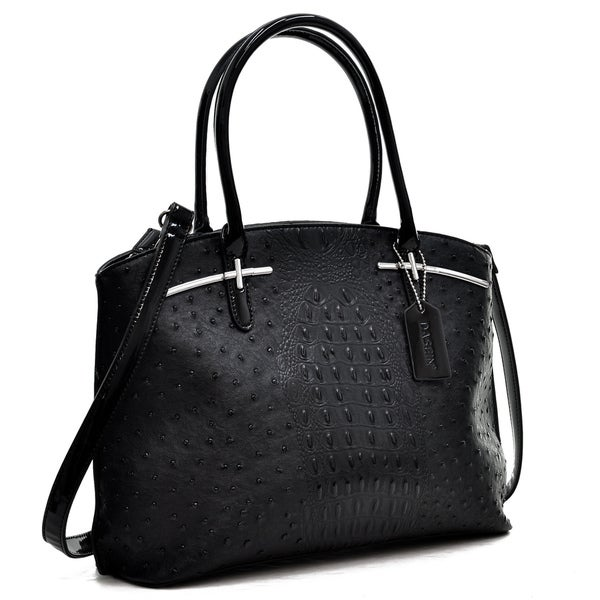 Dasein Ostrich Faux Leather with Patent Leather Trim Satchel