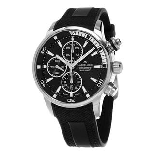 Maurice Lacroix Men's PT6008-SS001-330 'Pontos S' Black Dial Black Rubber Strap Chronograph Swiss Automatic Watch