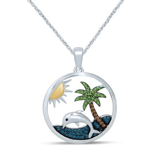 Unending Love Sterling Silver 1/4ct TDW Multi-colored Diamond Palm Tree and Dolphin Pendant