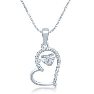 Unending Love Sterling Silver Dancing Diamond Accent Heart Pendant