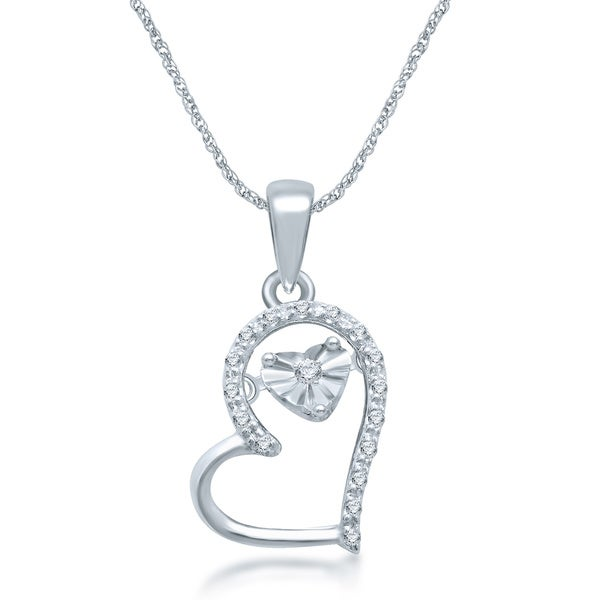 Sterling Silver Dancing Diamond Accent Heart Pendant