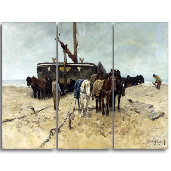 Design Art 'Anton Mauve - Fishing Boat on the Beach' Canvas Art Print