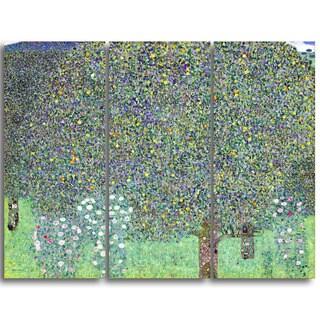 Design Art 'Gustav Klimt - Rosebushes Under the Trees' Canvas Art Print