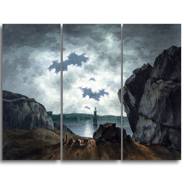 Design Art 'John Warwick Smith - Bay Scene in Moonlight' Canvas Art Print
