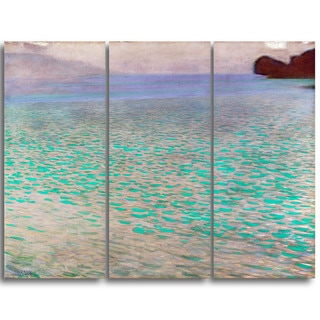 Design Art 'Gustav Klimt - Attersee' Canvas Art Print - 28Wx36H Inches - 3 Panels