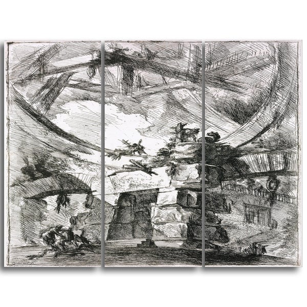 Design Art 'Giovanni Battista Piranesi - Imaginary Prison' Canvas Art Print - 28Wx36H Inches - 3 Panels