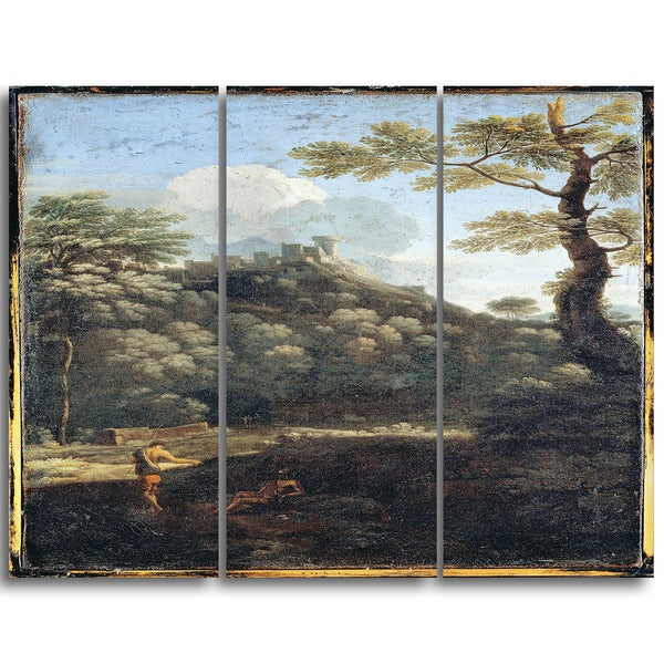 Design Art 'Gaspard Dughet - Daughters of the Constable Anne de Montmorency' Canvas Art Print - 28Wx36H Inches - 3 Panels