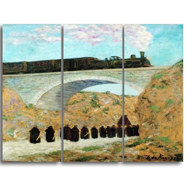 Design Art 'Dario de Regoyos - Good Friday in Castile' Canvas Art Print - 28Wx36H Inches - 3 Panels