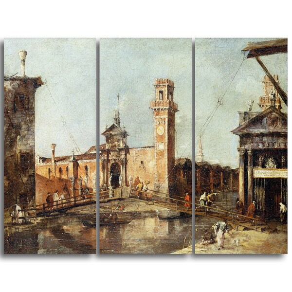 Design Art 'Francesco Guardi - The Entrance to the Arsenal in Venice' Canvas Art Print