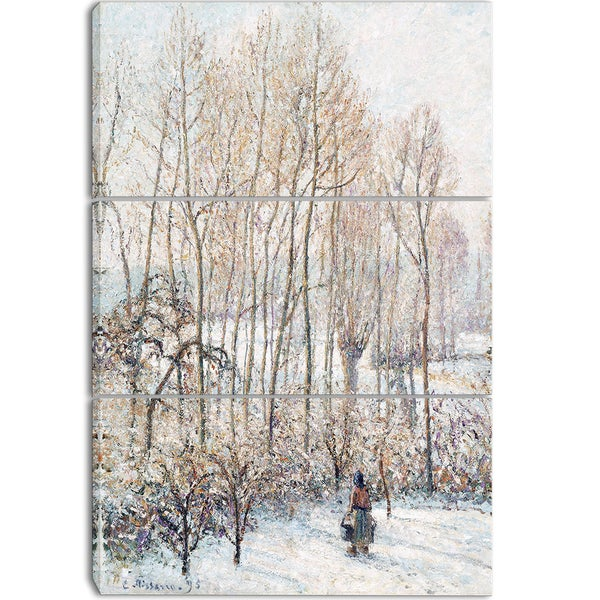 Design Art 'Camille Pissarro - Morning Sunlight on the Snow' Canvas Art Print - 28Wx36H Inches - 3 Panels