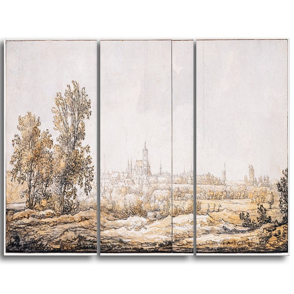 Design Art 'Aelbert Cuyp - View of Arnhem from the South' Canvas Art Print - 28Wx36H Inches - 3 Panels