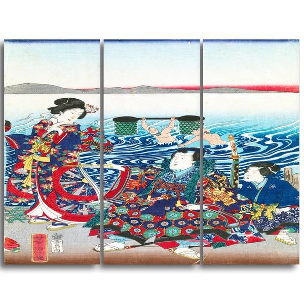 Design Art 'Utagawa Yoshitora - Gejni Crossing the Oi River' Large Asian Canvas Art