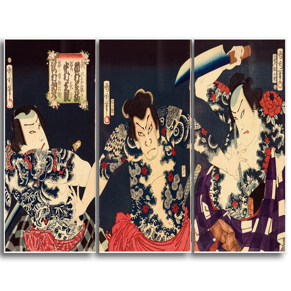 Design Art 'Toyohara Kunichika - The Kabuki Actors' Large Asian Canvas Art