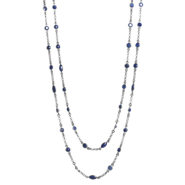 Sterling Silver Sapphire Antiqued Chain