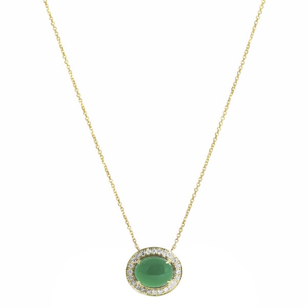 14k Yellow Gold Green Onyx and 1/6ct TDW Diamond Necklace