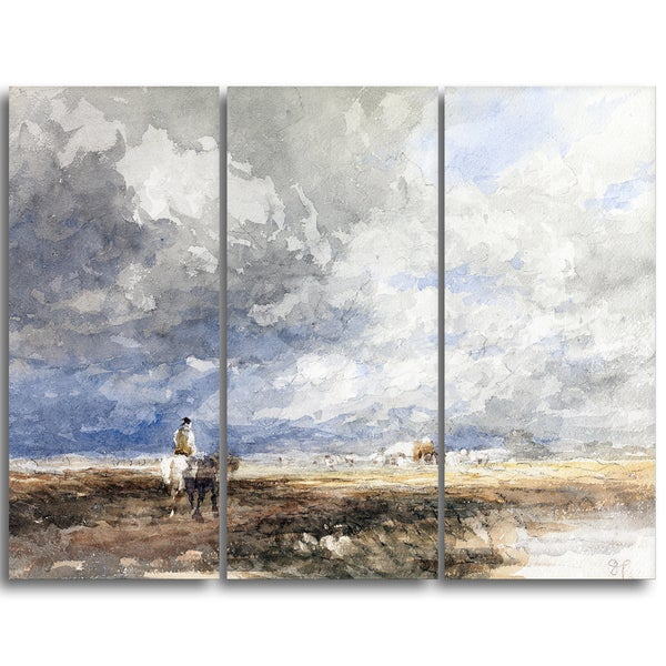 Design Art 'David Cox - Going to the Hayfield' Landscape Canvas Arwork