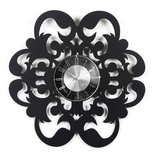 Handmade Vintage 20-inch Wood Fleur-de-lis Petal Clock