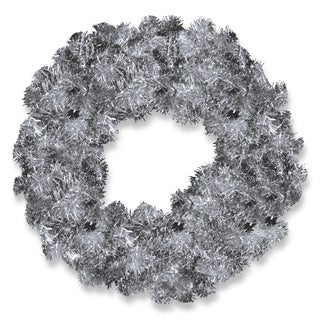 Silver 24-inch Tinsel Wreath