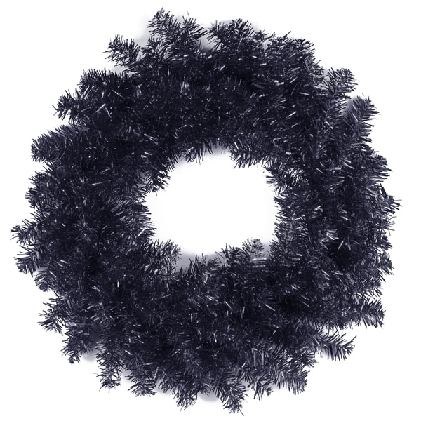 Black 24-inch Tinsel Wreath