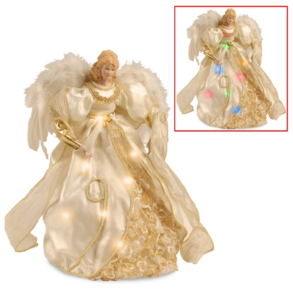 16-inch Ivory Tree Top Angel with Dual Color LED Lights