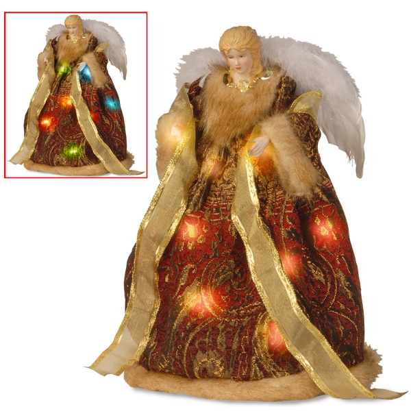 16-inch Burgundy and Gold Tree Top Angel with Dual Color LED Lights
