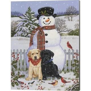 William Vanderdasson 'Backyard Snowman with Friends' Canvas Art