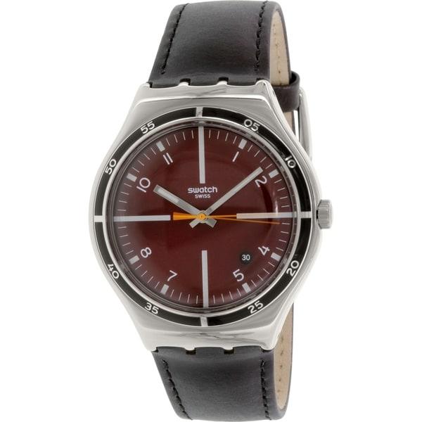 Swatch Men's Irony YWS412 Black Leather Swiss Quartz Watch