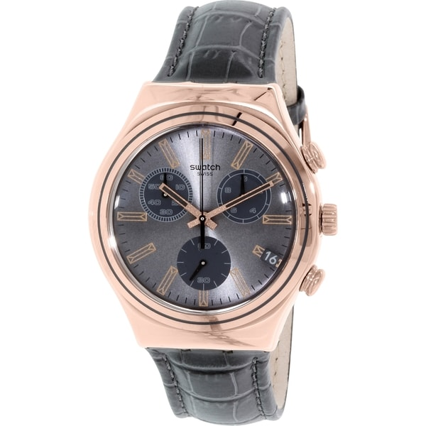 Swatch Men's Irony YCG411 Grey Leather Swiss Quartz Watch