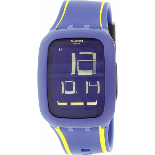 Swatch Men's Digital SURN106 Blue Silicone Quartz Watch