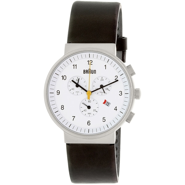 Braun Men's BN0035WHBKG White Leather Quartz Watch