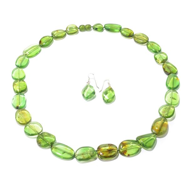 Sterling Silver Green Baltic Amber Earring and Necklace Set