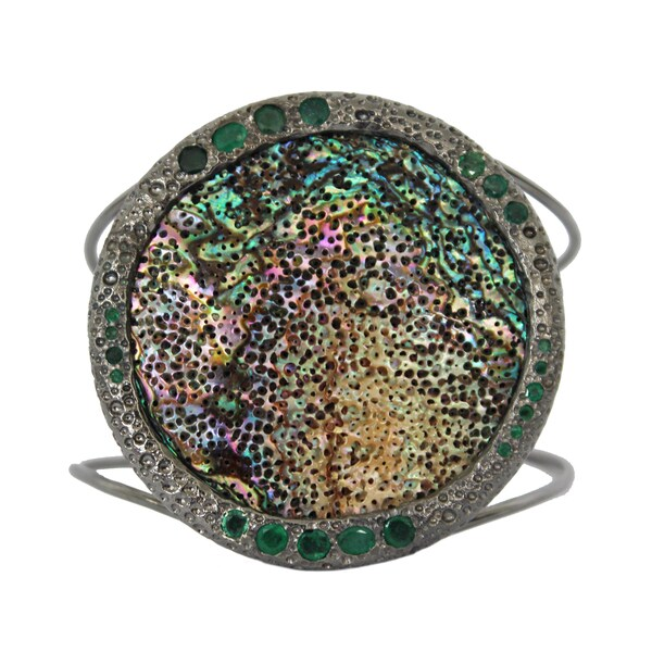 Sterling SIlver Abalone Stone and Emerald Cuff Bracelet