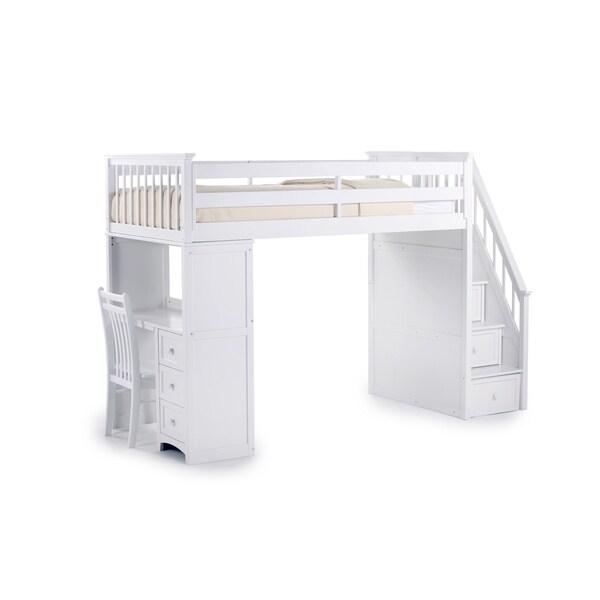 School House White Stair Loft w/ Desk End