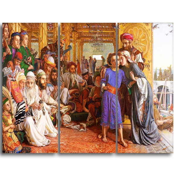 Design Art 'William Holman - The Finding of the Saviour' Religious Canvas Art Prints
