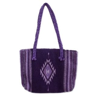 Handcrafted Zapotec Wool 'Violet Duality' Shoulder Bag (Mexico)