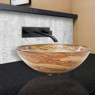 VIGO Mocha Swirl Vessel Sink and Titus Faucet in Antique Rubbed Bronze
