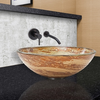 VIGO Mocha Swirl Vessel Sink and Olus Faucet in Antique Rubbed Bronze
