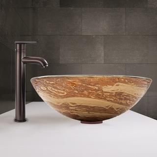 VIGO Mocha Swirl Vessel Sink and Seville Faucet in Oil Rubbed Bronze