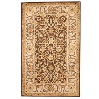 Herat Oriental Indo Hand-tufted Mahal Brown/ Ivory Wool Rug (3'3 x 5'3)