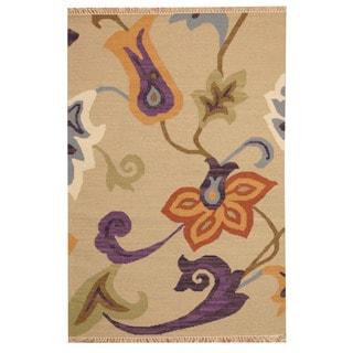 Herat Oriental Indo Hand-woven Vegetable Dye Tribal Kilim Tan/ Purple Wool Rug (4' x 6')