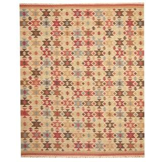 Herat Oriental Indo Hand-woven Kilim Beige/ Red Wool Area Rug (8' x 10')