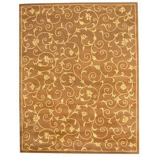 Herat Oriental Indo Hand-tufted Tibetan Light Brown/ Beige Wool Area Rug (8' x 10')