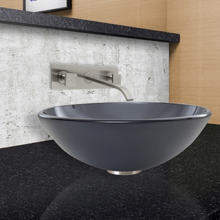 VIGO Sheer Black Frost Vessel Sink and Titus Faucet in Brushed Nickel