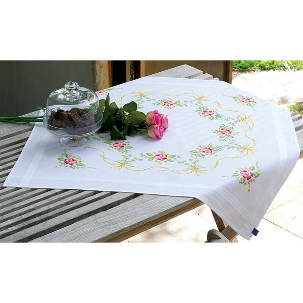 Garland With Roses Tablecloth Stamped Embroidery Kit